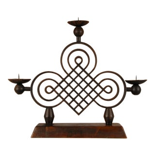 Mid 20th Century Gilbert Poillerat Art Deco French Design Wrought Iron Candelabra For Sale