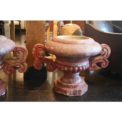 French French Red Cement French Urn, Circa Early 1900's. For Sale - Image 3 of 7