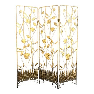 Vintage Italian Gilt Ironwork Tole Screen For Sale