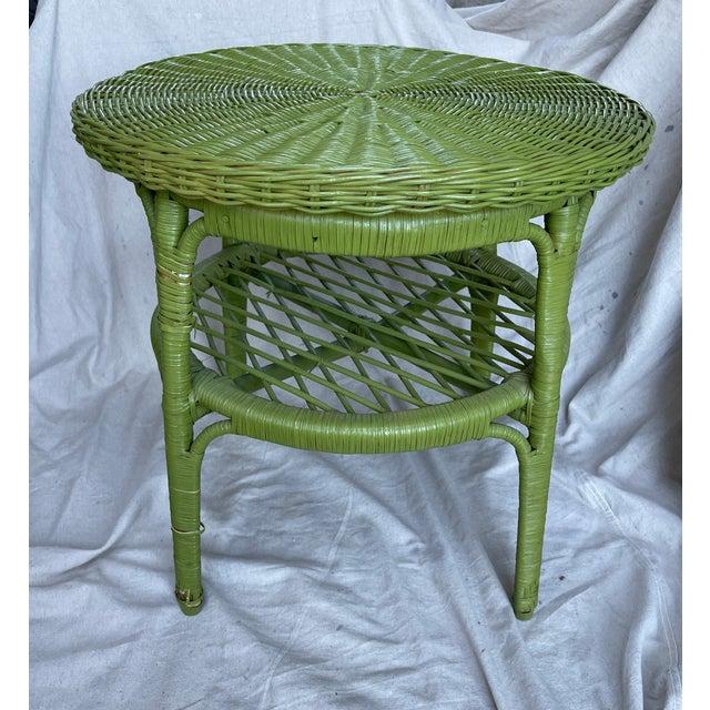 Avocado Vintage Avocado Green Wicker Side Table For Sale - Image 8 of 8