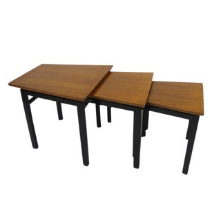 Set of Three Trapezoid Nesting Tables in Walnut by Edward Wormley for Dunbar For Sale
