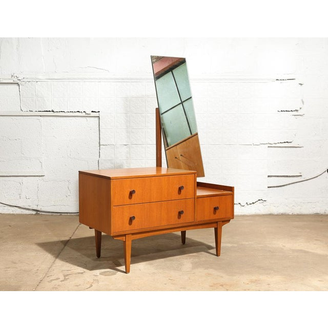 Modern 3 Drawer Cabinet with Long Vertical Hinged Mirror. Dressing table. Blond wood with stylish dark wood pulls. Size:...