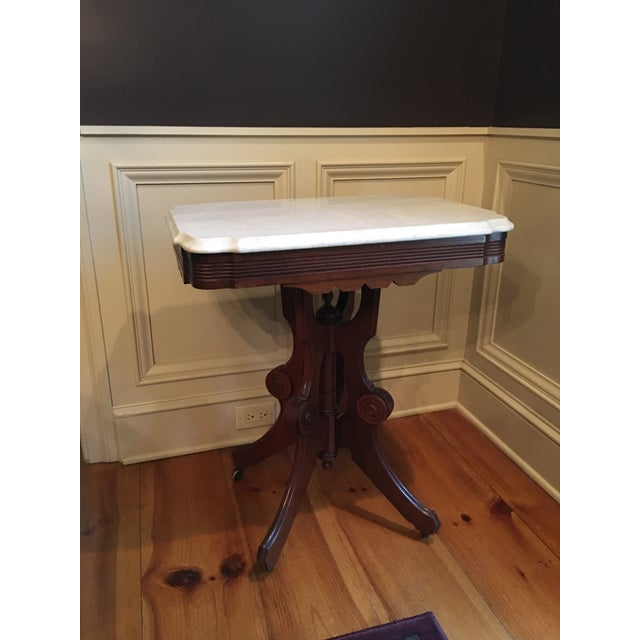 Marble Eastlake Victorian Marble Top Table For Sale - Image 7 of 7