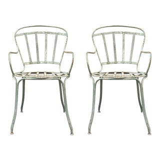 Pair of Iron Painted French Garden Chairs
