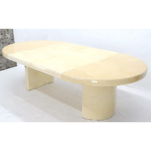 Large Round Lacquered Parchment Goat Skin Cylinder Base Dining Table 2 Leaves For Sale - Image 10 of 13
