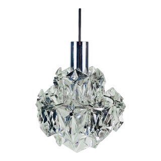 Kinkeldey Crystal Ice Glass Chandelier, 1960s, Germany For Sale