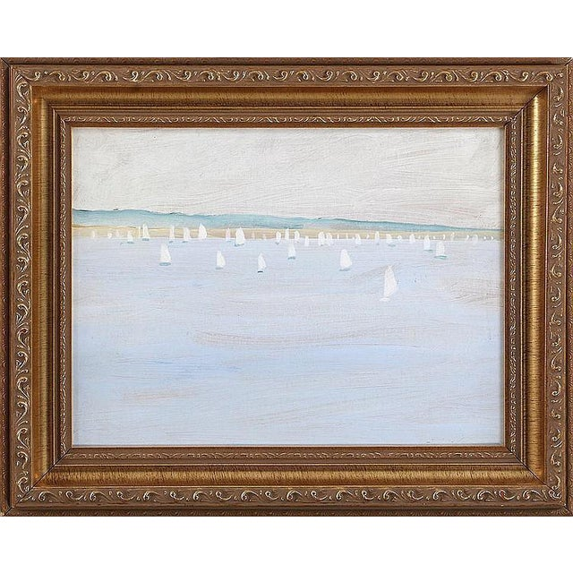 Ships in Harbor Oil Painting - Image 1 of 3