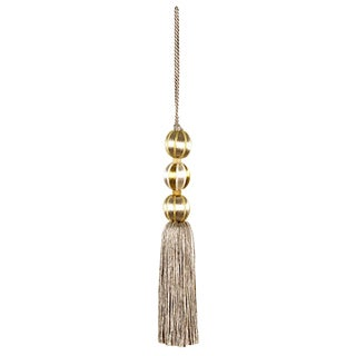 Merrivale Tall Gold Beaded Key Tassel- H 7.5 Inches For Sale