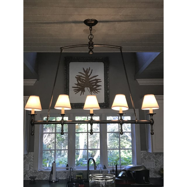Visual Comfort Linear 5 Light Pendant in Antique Nickel With Silk Shades. For Sale - Image 6 of 6
