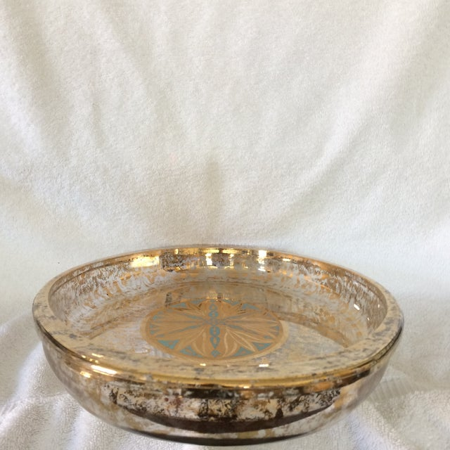 Georges Briard Georges Briard Gold and Blue Serving Dish With Bowl Made by Pyrex - Set of 2 For Sale - Image 4 of 13