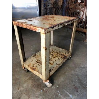 Industrial Vintage Rusty Metal Rolling Stand Cart or Side-Table Preview