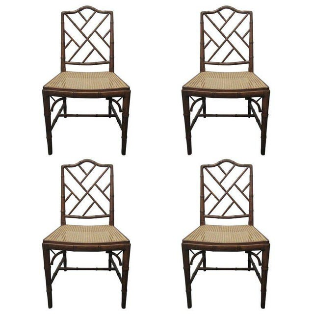 Brown 4 Faux Bamboo Chinese Chippendale Style Chairs For Sale - Image 8 of 8