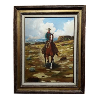 "1960s Vintage ""Cowboy on Horseback in a Desert Landscape"" Oil Painting by Arthur Roy Mitchell For Sale"