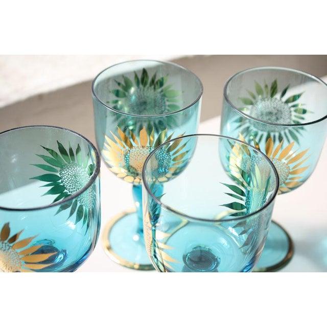 Vintage Sunflower Glasses - Set of 4 - Image 5 of 8