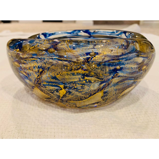 Contemporary Mid-Century Modern Blue and Gold Swirl Ashtray Bowl For Sale - Image 3 of 8