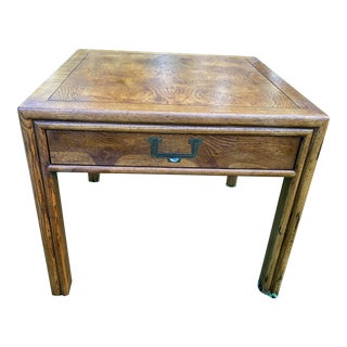 Vintage Henredon Artifacts Mid-Century Campaign Style Oak Side Table For Sale
