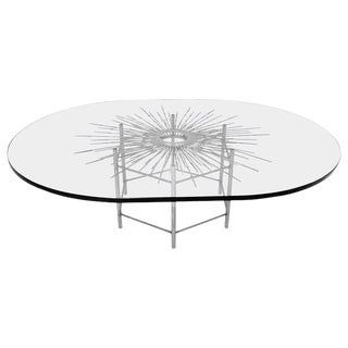 Bespoke Brutalist Welded Steel Sunburst With Thick Oval Glass Top Table For Sale