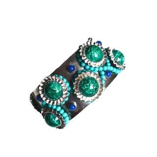 William De Lillo Turquoise and Green Cuff For Sale