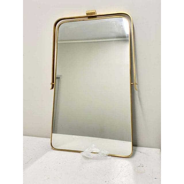 Mid-Century Modern Circa 1950s Italian Brass Frame Mirror, Gio Ponti Attributed For Sale - Image 3 of 12