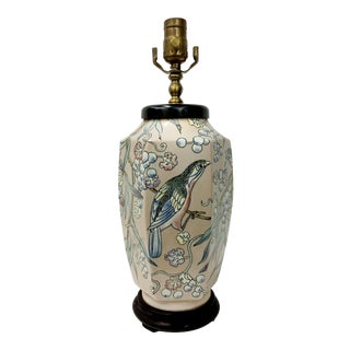 Chinese Style Vase Lamp with Bird Illustration For Sale