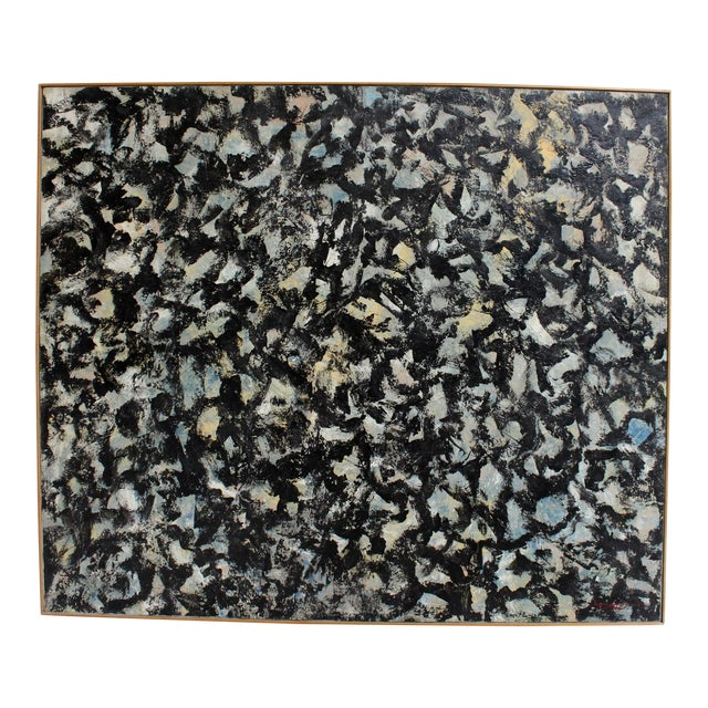 Large Abstract Expressionist Painting in Black and Green by Artist Jacques Lamy - Image 1 of 8
