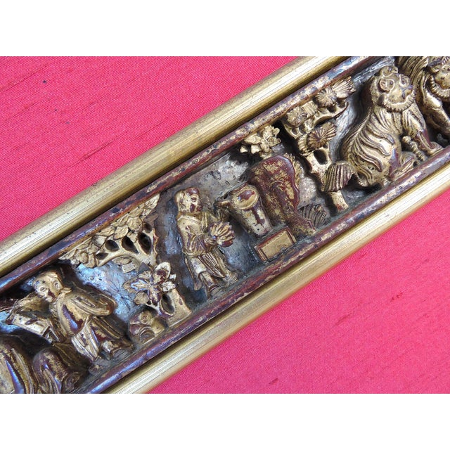 Late 19th Century Antique Chinese Raw Silk & Carved Gilt Wood Wall Hanging/Panel For Sale - Image 5 of 9