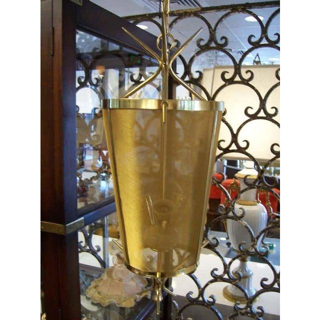 1950s Italian Petite Brass Lantern Hanging Light For Sale - Image 5 of 5