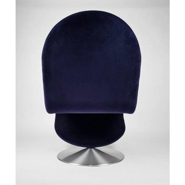 Aluminum Danish Modern Verner Panton 'System 123' Deluxe Lounge Chair in Blue Velvet For Sale - Image 7 of 9