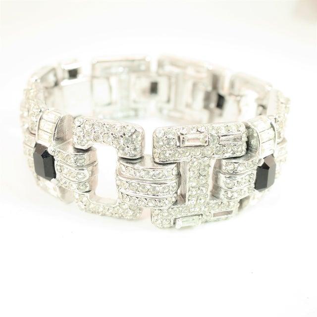 Metal Ciner Art Deco-Style Geometric Link Rhodium Bracelet 1950s For Sale - Image 7 of 13