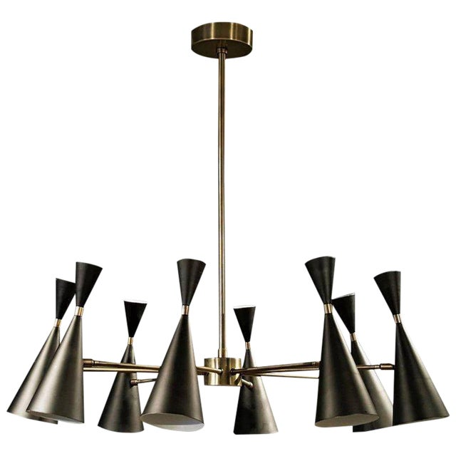 """Petite Monolith"" Modern Brass Chandelier by Blueprint Lighting *Custom Colors* For Sale"