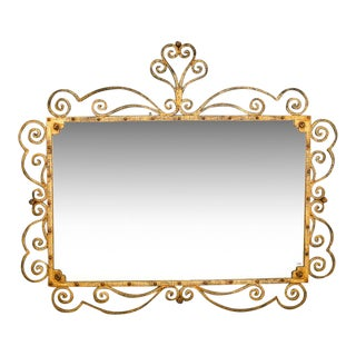1960s Large Italian Gilt Metal Horizontal Scrollwork Mirror For Sale