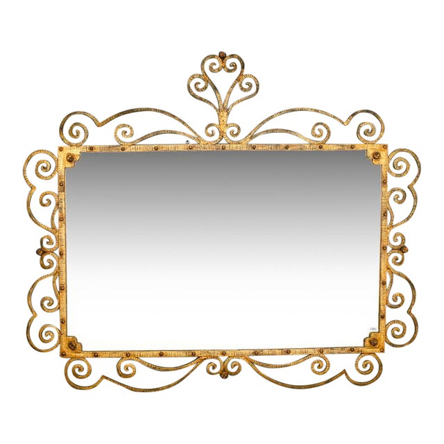 Large Italian Gilt Metal Horizontal Mirror With Elaborate Scroll Work - Image 1 of 8