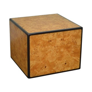 John Stuart Mid Century Modern Burl Wood Cube Side Table by Metro