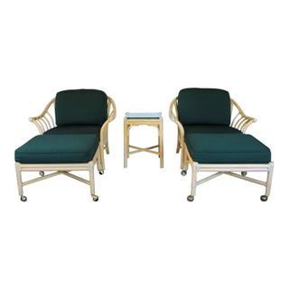 McGuire Lounge Chairs, Ottomans & Table Preview