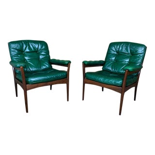 Vintage Gote Mobler Mid-Century Green Leather Carmen Armchairs - a Pair For Sale
