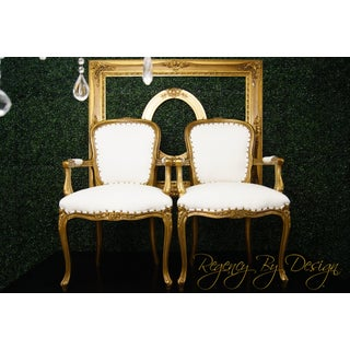 Late 20th Century Louis XV Gold and White Chairs - a Pair Preview