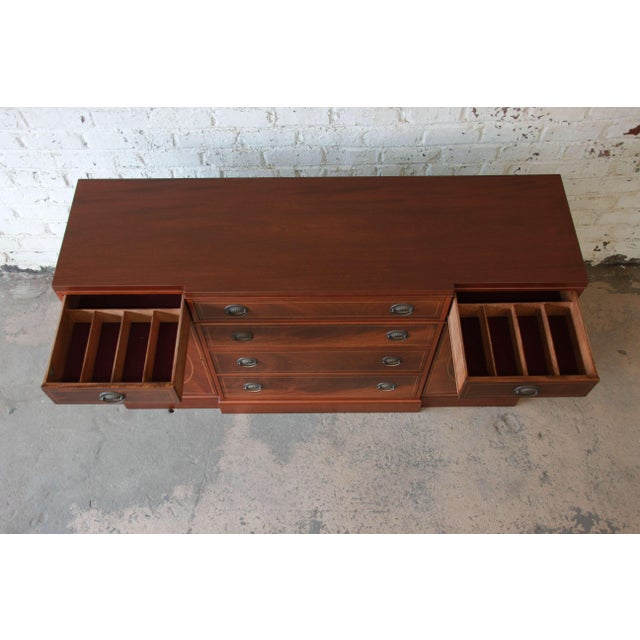 Baker Furniture Inlaid Mahogany Sideboard Buffet For Sale - Image 9 of 11