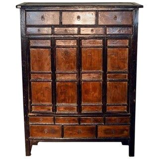 Antique Chinese Large Armoire with 14 Drawers and Storage from the 19th Century For Sale