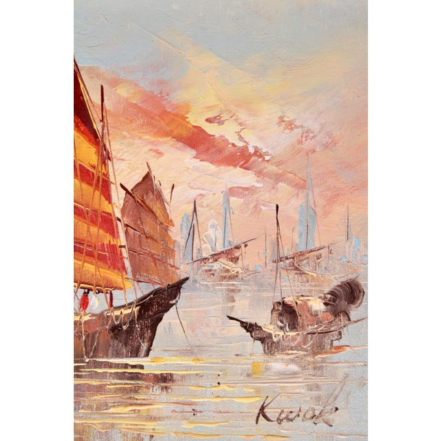 Vintage Coastal Nautical Sailboat Oil Painting For Sale - Image 4 of 11