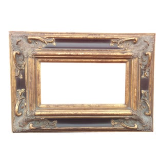 "Ornate Spanish Baroque Dark & Antique Gold Picture Frame/Mirror Frame 8""x16"" For Sale"