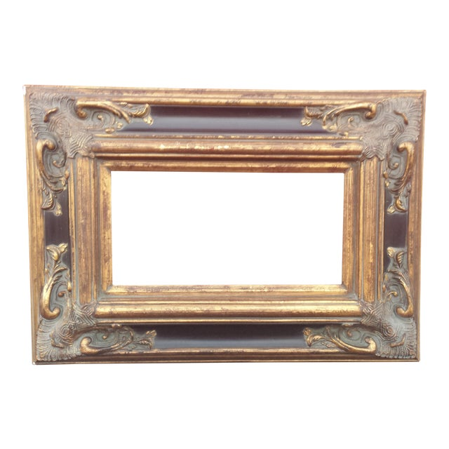 "Ornate Spanish Baroque Dark & Antique Gold Picture Frame/Mirror Frame 8""x16"" For Sale"