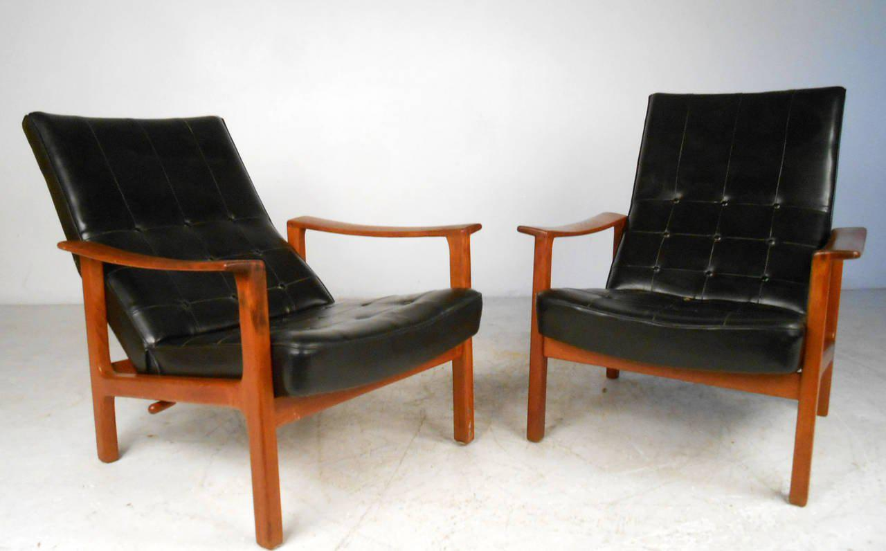Mid Century Modern Bröderna Andersson Teak Recliner Lounge Chairs  A Pair  For Sale