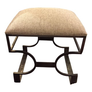 Metal and Linen Deco Style Bench For Sale