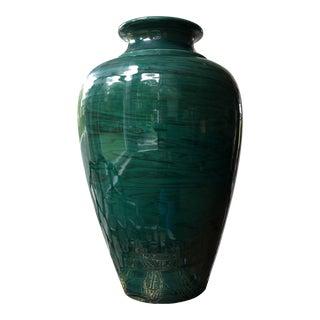 Vintage Italian Hand Painted Faux Malachite Vase For Sale