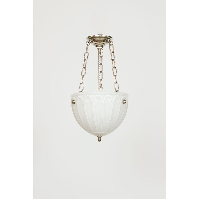 Antique cased glass bowl, c. 1910. Custom fixture made with two light cluster and all polished nickel hardware. Please...