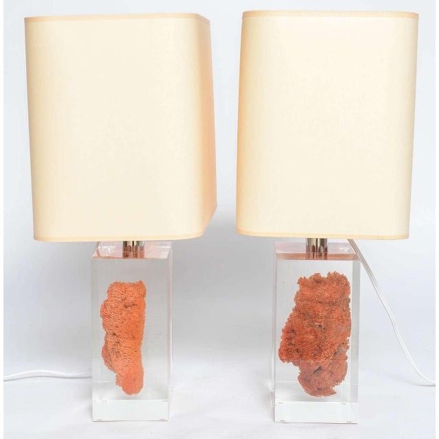1980s Natural Red Coral in Lucite Block Table Lamps - Sold Indivdually For Sale - Image 5 of 11