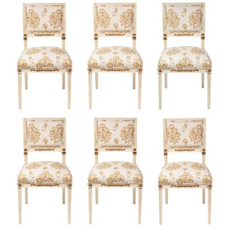 Dining Chairs Newly Upholstered in Penny Morrison 100% Linen - Set of 6 For Sale