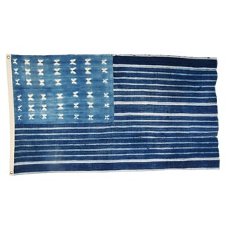 "Custom Made Indigo Blue & White Flag From African Textiles 58"" X 34"""