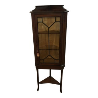 1910s Edwardian Mahogany Mutin Glazed Door Cabinet For Sale