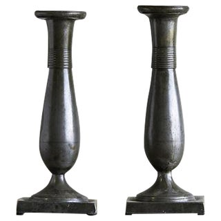 1830 Antique Austrian Biedermeier Period Pewter Candlesticks - a Pair For Sale